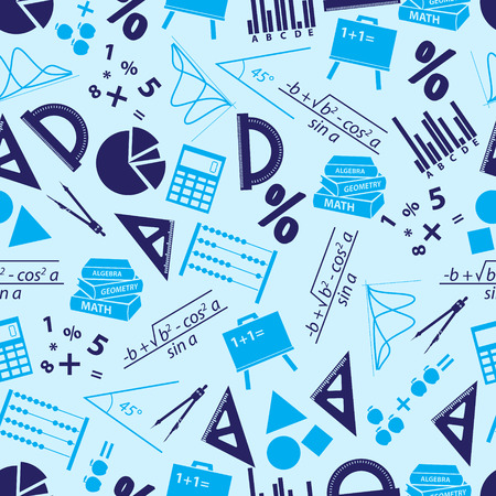 numerate: mathematics icons blue seamless pattern eps10