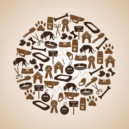 mamal: dog icons set in circle eps10 Illustration