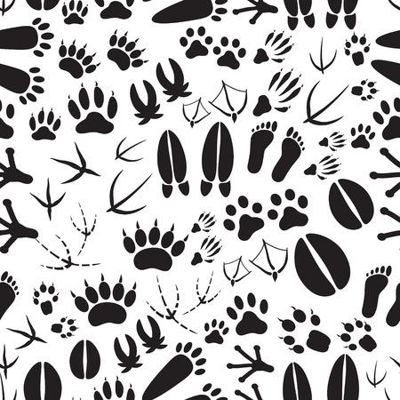badger dog: animal footprints black and white seamless pattern eps10