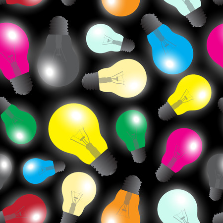 color light bulbs - light source seamless pattern eps10 Vector