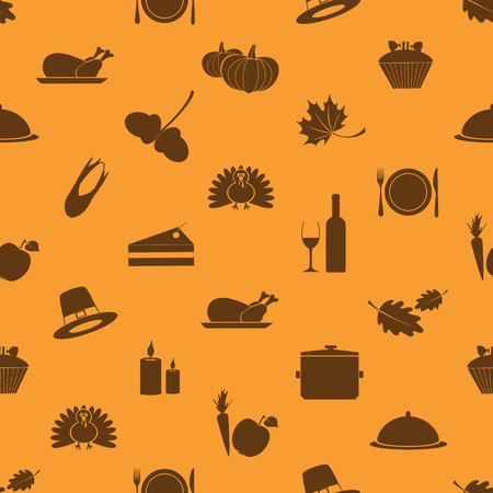 brown background texture: thanksgiving icons set seamless autumn pattern  Illustration