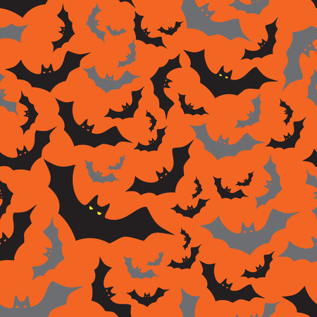 flying coffin: bat seamless dark and orange autumn halloween pattern