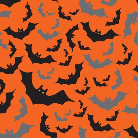 eyes cave: bat seamless dark and orange autumn halloween pattern