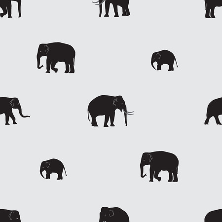 black mammoth: vector shadow elephants seamless pattern Illustration