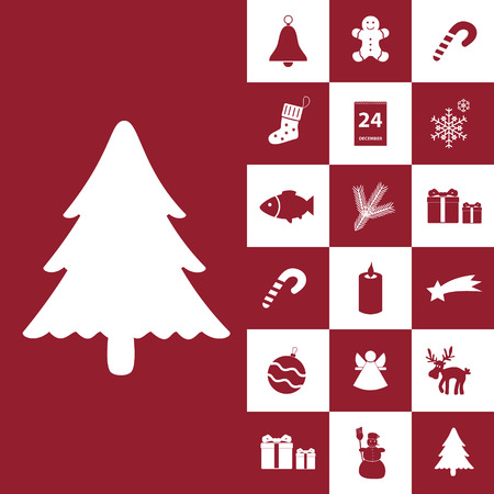 christmas red and white icons collection Vector