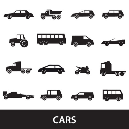 cabrio: simple cars black silhouettes icons collection eps10 Illustration