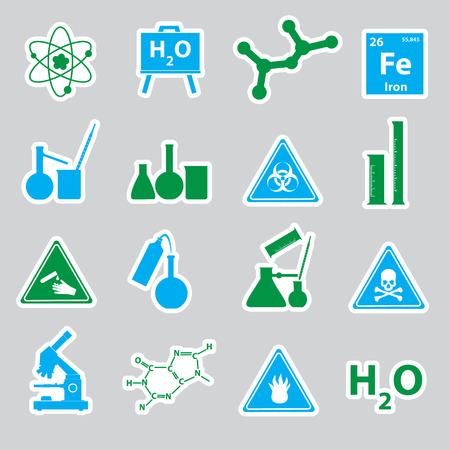 corrosive: chemistry color stickers set eps10