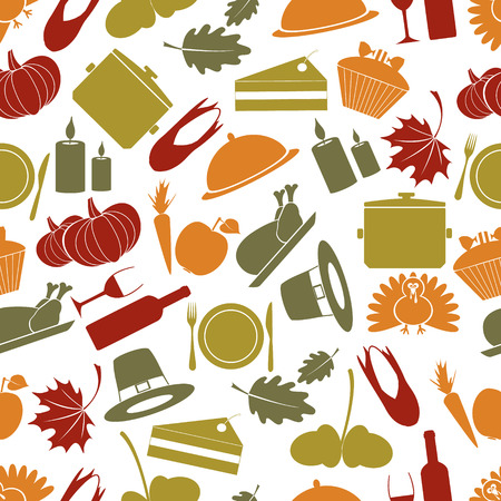 thanksgiving color seamless autumn pattern  Vector