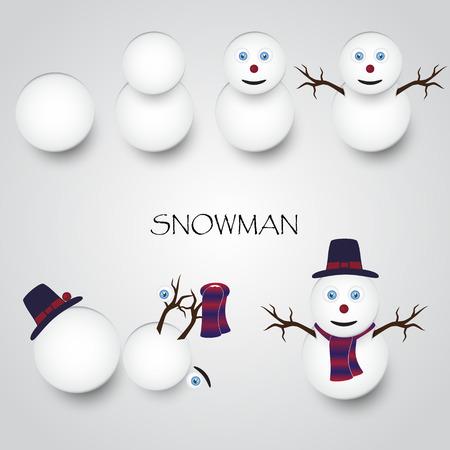 childern: white winter happy snowman building