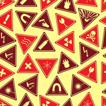 panneaux danger: color� signes de danger types seamless pattern Illustration