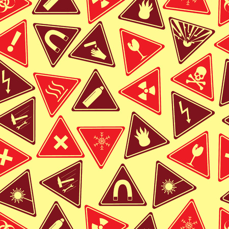 corrosive: colorful danger signs types seamless pattern
