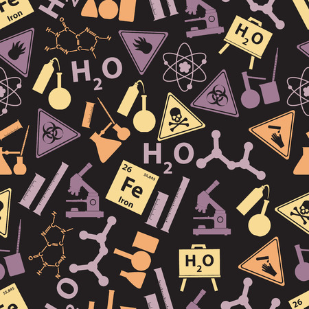 hydrate: chemistry color icons dark pattern eps10 Illustration