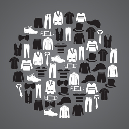 white and black mens clothing icons in circle eps10 Vector