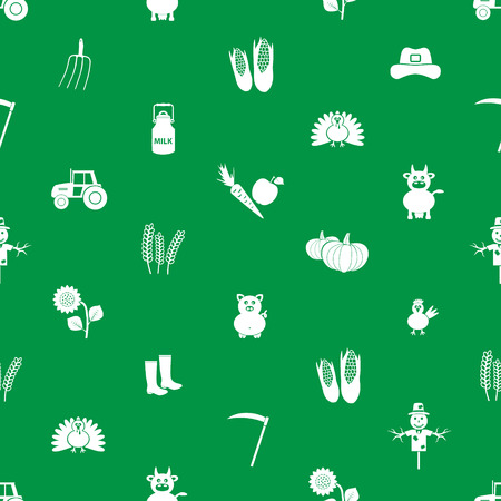 farm icons green and white seamless pattern eps10 Vector