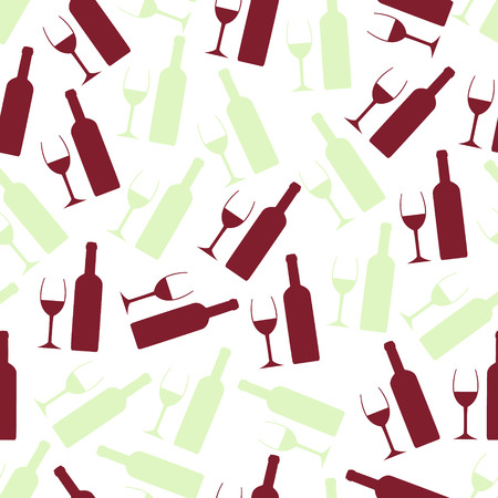wine: red and white wine glasses and bottle seamless pattern eps10