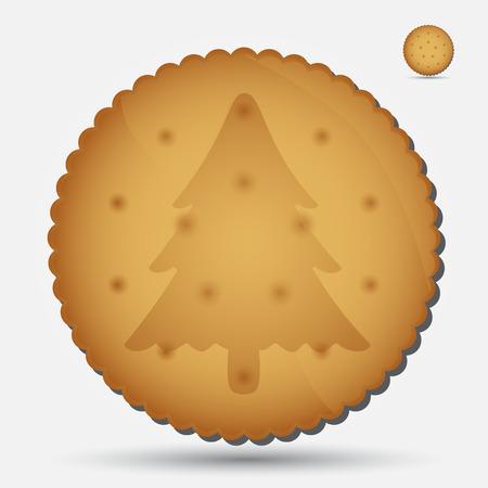 bułka maślana: Boże Narodzenie brązowy ciastko z drzewa symbol eps10