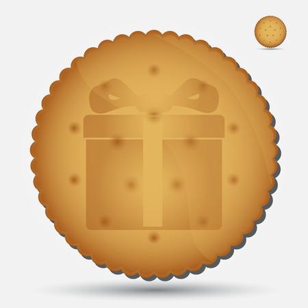 bułka maślana: Boże Narodzenie brązowy ciastko z Dar symbolu eps10