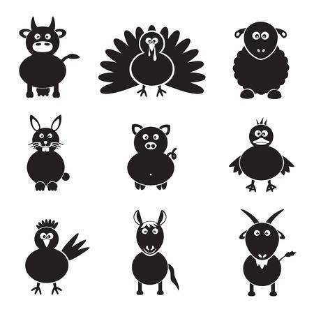farm animals simple icons set.  Vector