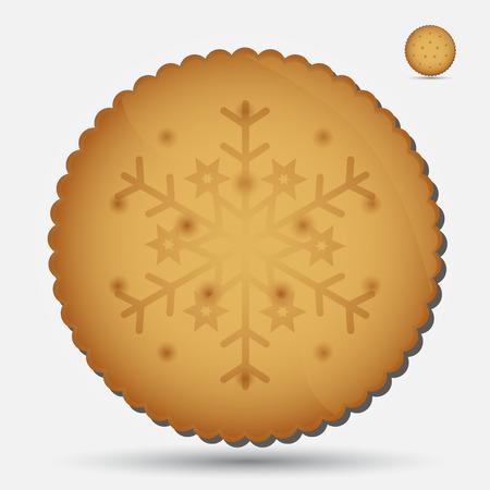 bułka maślana: Boże Narodzenie brązowy ciastko z symbolem płatka śniegu eps10