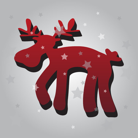 one isolated: one isolated christmas red reindeer 3d eps10