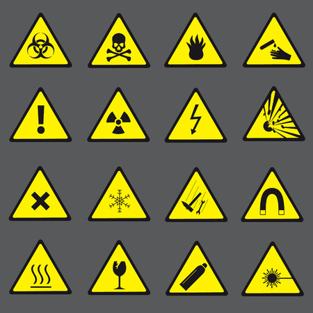 dangerous: yellow and black danger and warning signs set eps10