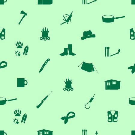 huntsman: black backwoodsman icons seamless green pattern eps10 Illustration