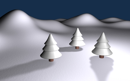 white winter 3d landscape with three trees and hills photo