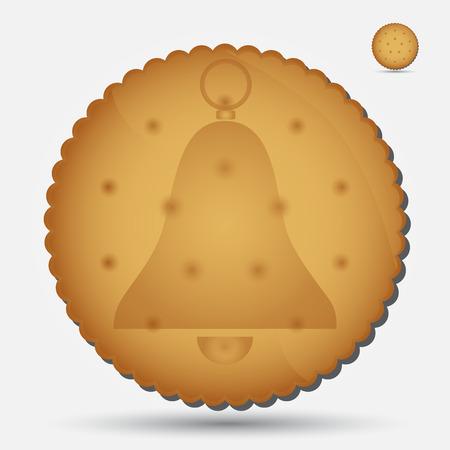 bułka maślana: Boże Narodzenie brązowy ciastko z symbolem dzwonka eps10