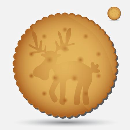 bułka maślana: Boże Narodzenie brązowy ciastko z reniferów symbol eps10
