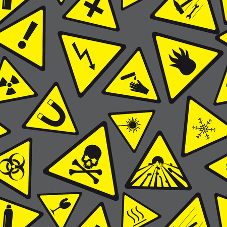 yellow and black danger and warning signs pattern eps10 Vector