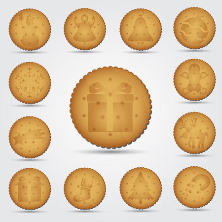 set of christmas brown biscuit with symbols eps10 Vector