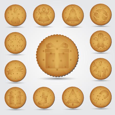 bułka maślana: zestaw Boże Narodzenie brązowy ciastko z symboli eps10