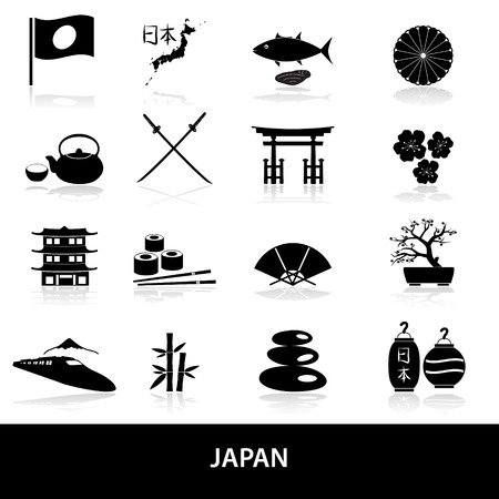 black simple japan theme icons set  Vector