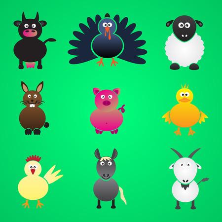gobbler: colorful farm animals simple icons set eps10