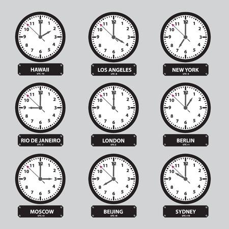 zones: time zones black and white clock set eps10