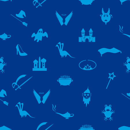 genie lamp: blue simple fairy tales theme seamless pattern eps10