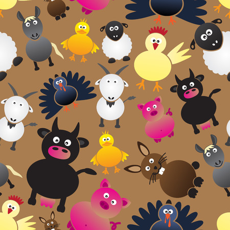 gobbler: colorful farm animals simple icons seamless pattern eps10 Illustration