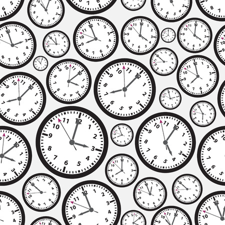 zones: time zones black and white clock seamless pattern Illustration