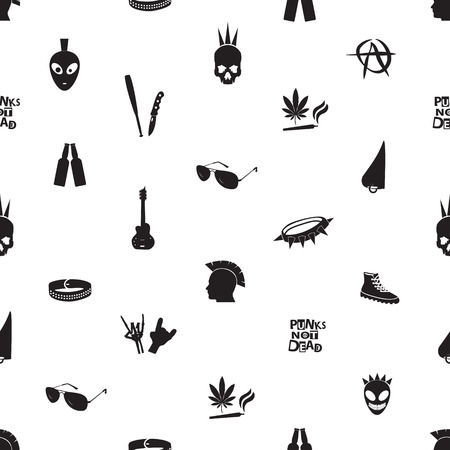 black and white punk icons seamless pattern Vector