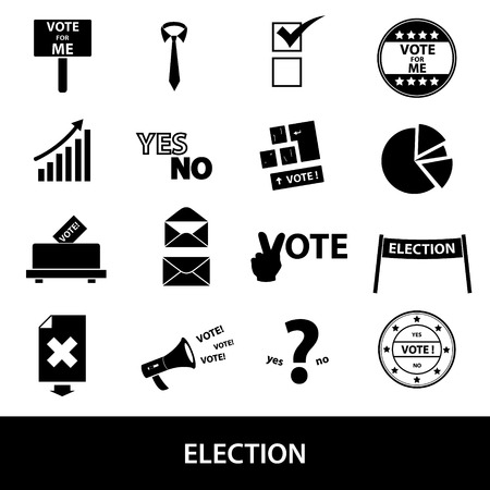 yes or no: election black simple icons set