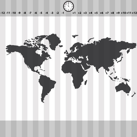 zones: time zones world map with clock and stripes eps10