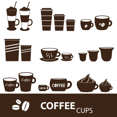 mocca: coffee cups and mugs sizes variations icons set eps10