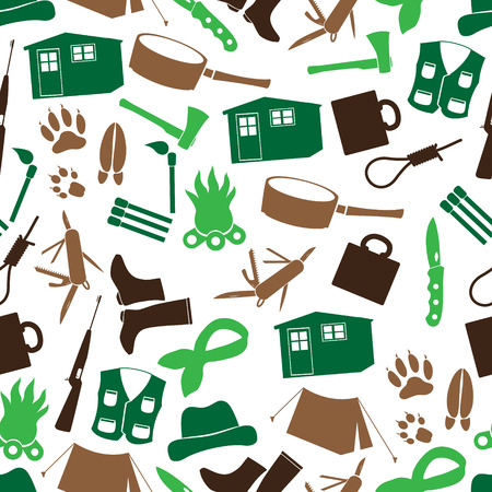 woodsman: simple backwoodsman icons seamless pattern eps10 Illustration