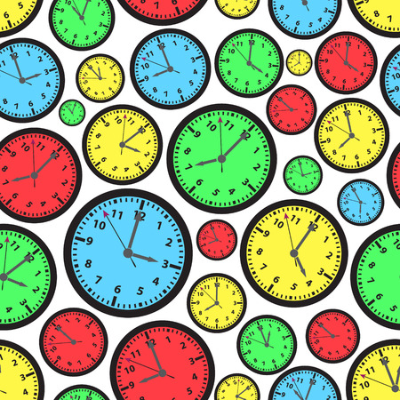 zones: time zones color clock seamless pattern eps10