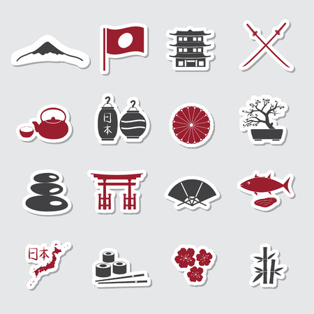 assasin: Japanese theme stickers set eps10