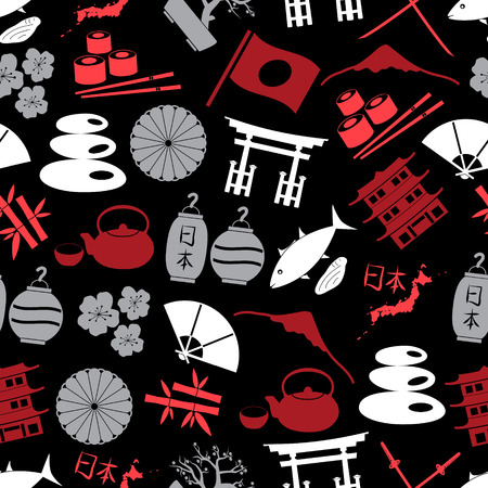 assasin: Japanese color icons seamless dark pattern eps10