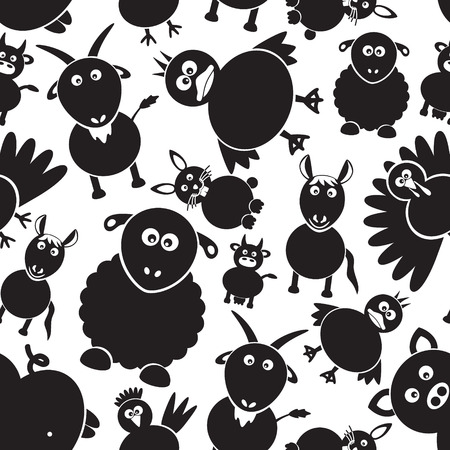 gobbler: farm animals simple black and white seamless pattern eps10