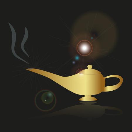 genie: shiny gold fairy tales genie lamp