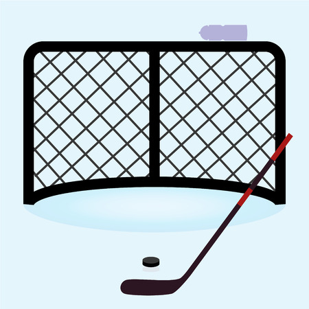 hockey: ice hockey net gate with hockey stick and puck  Illustration