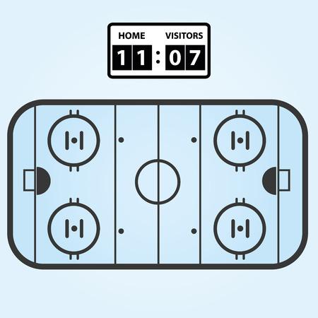 score board: ice hockey field plan with score board